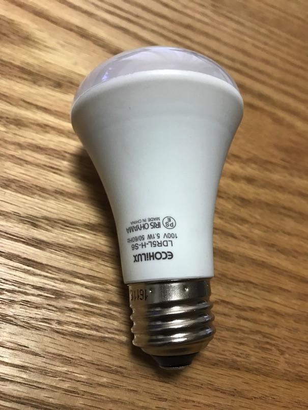 【アイリスオーヤマ 人感センサー付 LED電球 】節電と消し忘れ防止が同時に達成できましたー!
