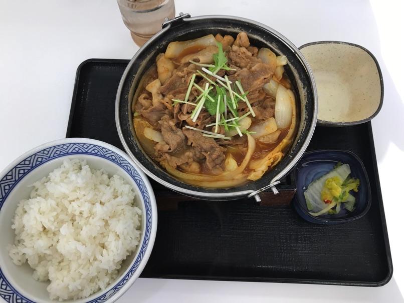【吉野家】西日本限定「牛肉と牛モツの旨辛味噌鍋膳」スープでじんわりカラダが温まる鍋でした。